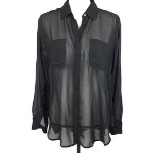 Victoria Secret Oversized Sheer Button Up Blouse